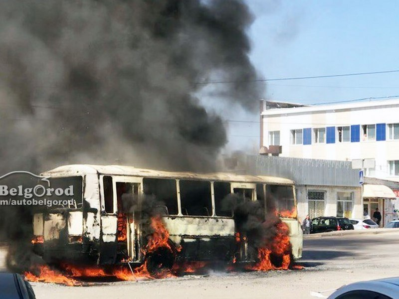 ВБелгороде наСтуденческой сгорел автобус